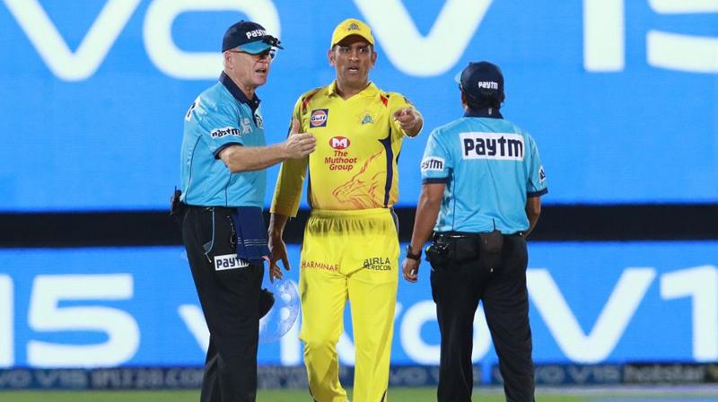 Dhoni was seen angrily gesturing at Gandhe before leg umpire Bruce Oxenford asked Dhoni to leave. (Photo: BCCI)