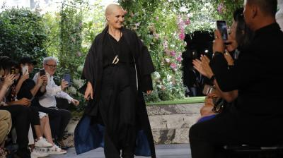 Designer Maria Grazia Chiuri accepts applause at the end of the Dior Haute Couture Fall-Winter 2020 fashion collection presented in Paris. (Photo: AP/Michel Euler)