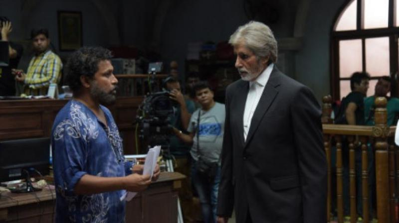 Shoojit Sircar and Amitabh Bachchan on the set of 'Pink'.