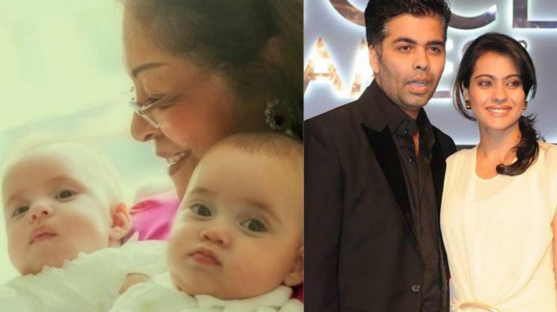 Karan Johar's picture of his twins Yash and Roohi seems to have worked magic in his equation with Kajol.