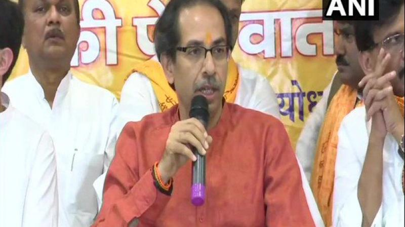 Thackeray, who reached here this morning along with his son Aditya, will first meet party MPs, who are here since Saturday evening, and then pay obeisance at the makeshift temple. (Photo: ANI)
