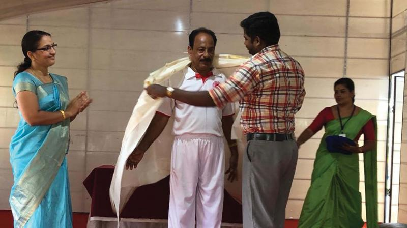 National referee Mr.  A. K. Bharathan being felicitated at TGM Vidyaniketan.