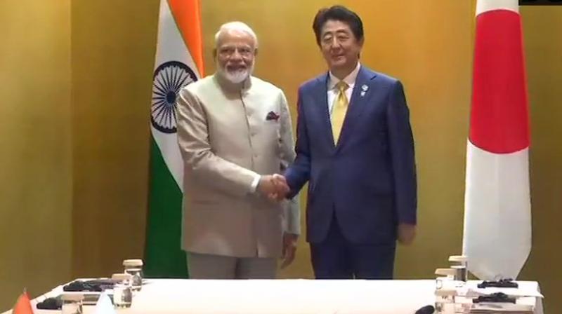 Prime Minister Narendra Modi and his Japanese counterpart Shinzo Abe held talks on Thursday during which they discussed a range of issues of mutual interest, the first meeting between the two leaders since the start of Japan's Reiwa era. (Photo: Twitter/ ANI)
