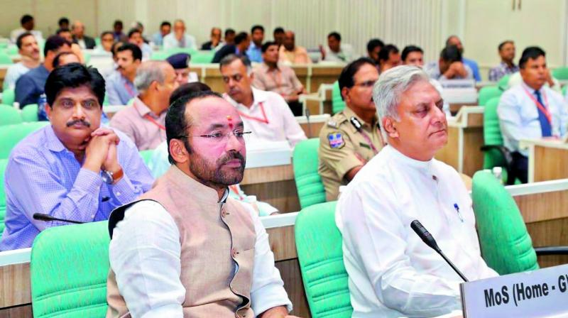 Minister of state for home affairs G. Kishan Reddy (left) at the the concluding session of the conference on national strategies in New Delhi on Friday.