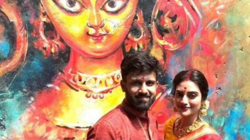 Clad in a saree and sporting sindur, Nusrat Jahan had attended Durga puja celebrations of Suruchi Sangha with her husband on Sunday. (Photo: Instagram)