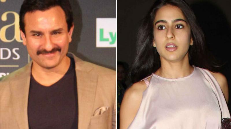 Saif Ali Khan and Sara Ali Khan.