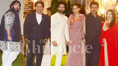 On Sunday night, Mukesh Ambani threw a grand pre-wedding bash for sister Nina Kothari's daughter Nayantara Kothari at his residence Antilia. The party was a star-studded affair as many Bollywood celebrities like Shah Rukh Khan, Aishwarya Rai Bachchan, Shahid Kapoor, Abhishek Bachchan and others attended the same. (Photos: Viral Bhayani)
