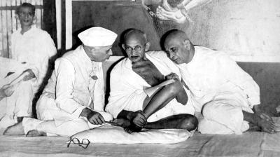Jawaharlal Nehru, Mahatma Gandhi and Sardar Vallabhbhai Patel at the All India Congress Committee meeting in what was then Bombay in 1946.