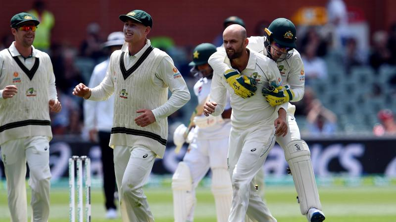 Nathan Lyon took two wickets in the first session Monday and three in the second before Australia finished off a victory by an innings and 48 runs under lights to complete a two-test series sweep with more than a day to spare. (Photo: AFP)