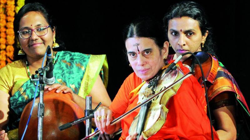 A team of women musicians led by violin artiste Avasarala Kanyakumari performed at Ravindra Bharathi
