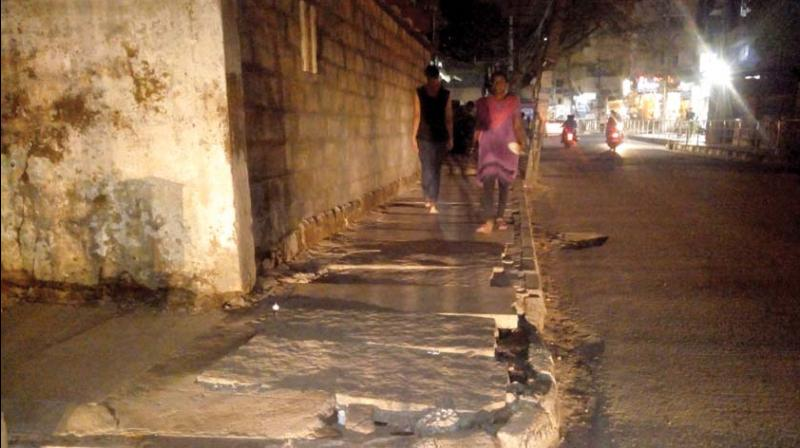 The other major issue which has been troubling the residents for a long time is uneven slabs. The slabs near S.G. Palya have become a nightmare for the pedestrians who allege that at any time they could cave into one of the drains.