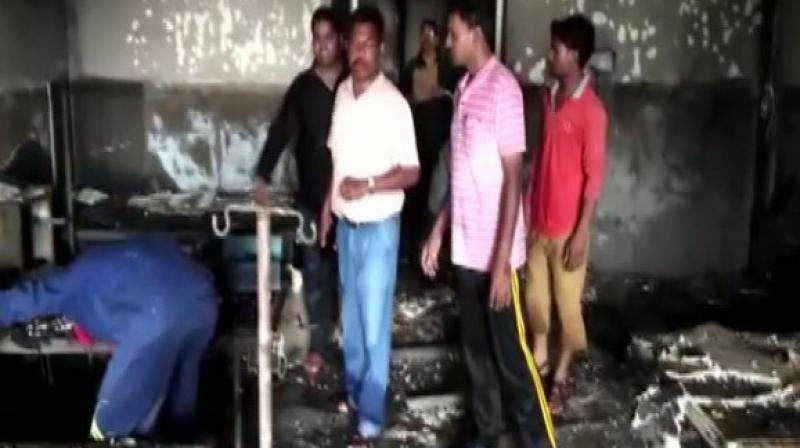 The incident caused heavy damage to the hospital as three labour wards gutted in the fire. (Photo: ANI)