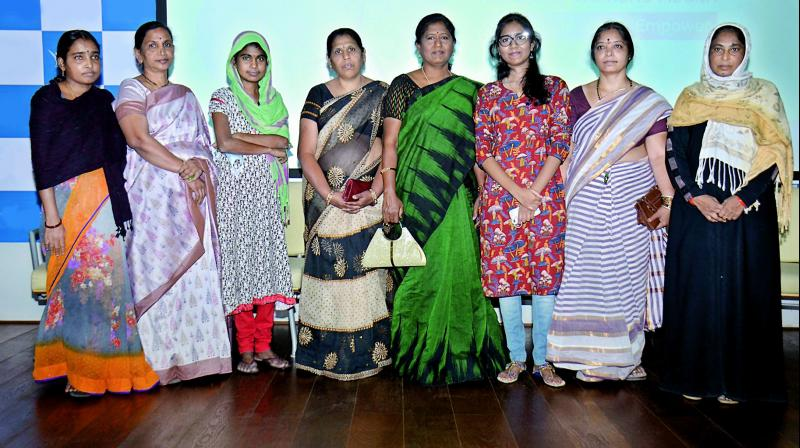 From Left: Ms Sathavathi, Ms Nancharamma, Ms Mamatha a recipient, Ms Rajini, Ms Padma and her daughter Ms Pravalika a recipient, Ms Naga Prabha and Ms Farzana were felicitated on the eve of International Women's day by hospitals in the city on Wednesday.