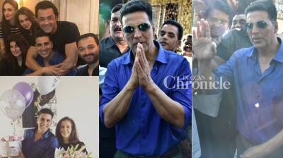 Akshay Kumar celebrated his birthday by celebrating with close ones and greeting his fans in Mumbai on Sunday. (Photos: Viral Bhayani)