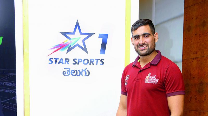 Rahul Chaudhari of the Telugu Titans kabaddi team poses at the channel launch in Hyderabad on Wednesday.