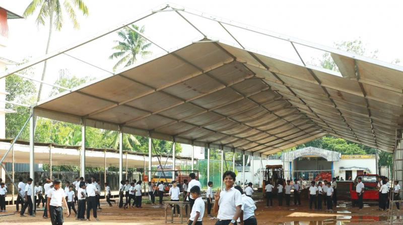 Preparations of main venue underway at Leo XIII HSS, Alappuzha, on Wednesday.