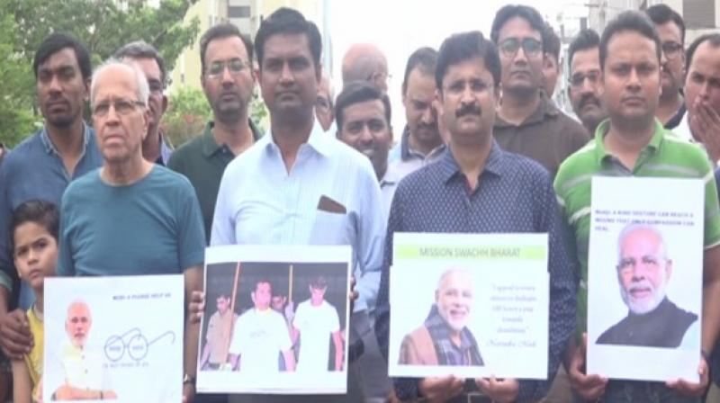 Bhayli residents protesting in Vadodara. (Photo: ANI)