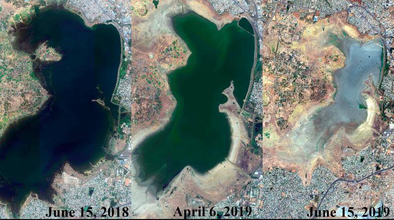 The video made from the compilation of satellite images released by ESA Sentinel shows rapidly depleting water levels in Puzhal lake - one of five key water bodies keeping the city afloat - between April and June - highlighting the severity of the situation. (Photo: AP | File)