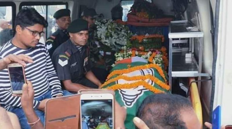 A few photos of the BJD flag on the jawan's coffin went viral on social media on Thursday night and quickly triggered an outrage. (Photo: Twitter | @AmitabhMohanty9)