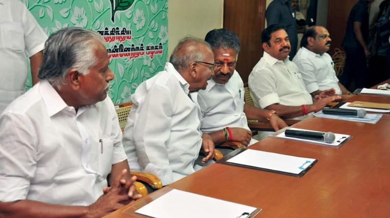 Chief Minister Edappadi K. Palaniswami and Deputy CM O. Panneerselvam on Wednesday lead a meeting with party MLAs and MPs at Royapettah party office in Chennai. (Photo: DC)