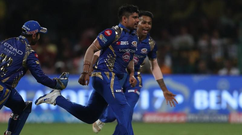KArn Sharma ran through the Kolkata Knight Riders top order like a hot knife through butter. (Photo: BCCI)