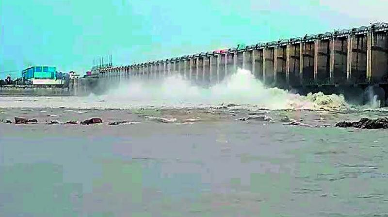 Water being released from Sundilla Barrage, which is a part of Kaleshwaram  project, in Peddapalli district. (Photo: DC)