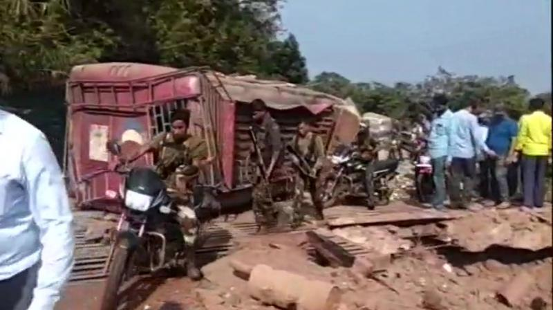 The blast took place on a bus near Bacheli in Dantewada and multiple casualties were reported. (Photo: ANI/Twitter)