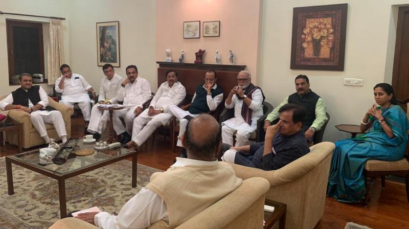 Congress-NCP meeting underway at Sharad Pawar's residence in Delhi. (Photo: ANI)