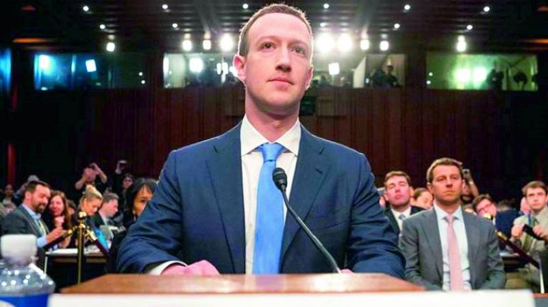 Facebook founder Mark Zuckerberg giving his testimony to members of the US Congress.