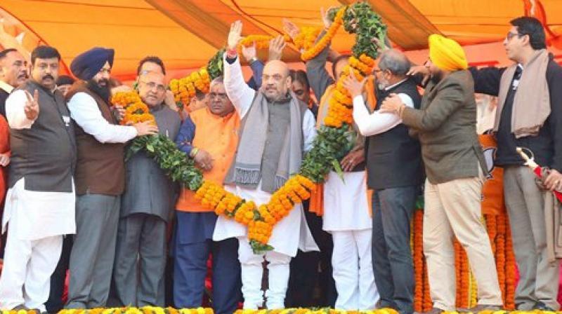 President of the Bharatiya Janata Party (BJP) Amit Shah during Vijay Sankalp yatra rally at Ludhiana. (Photo: PTI)