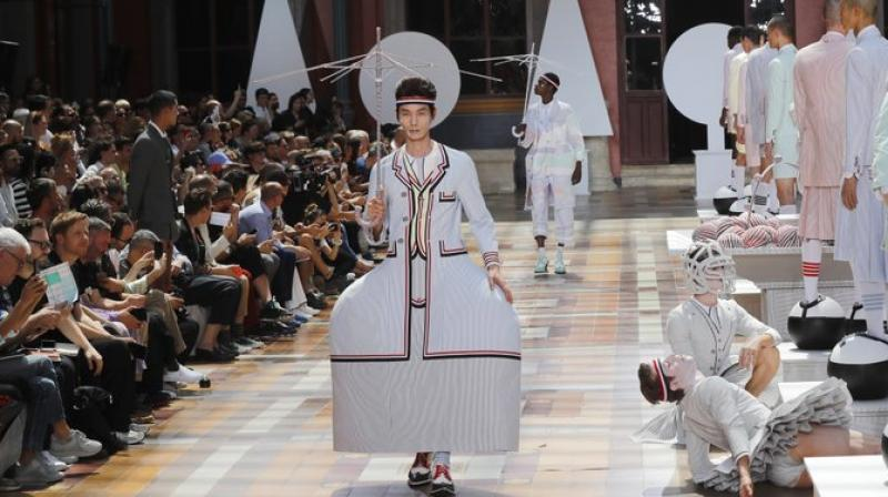 A model wears a creation for the Thom Browne mens Spring-Summer 2020 fashion collection presented in Paris. (Photo: AFP)