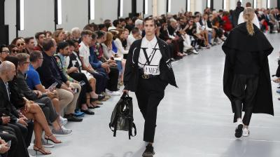 A model wears a creation for the Valentino mens Spring-Summer 2020 fashion collection presented in Paris. (Photo: