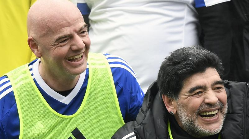 Diego Maradona hailed FIFA as 'clean and transparent' under President Gianni Infantino. (Photo: AP)