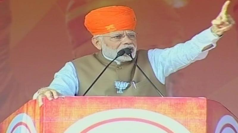 Modi also hit out at former chief minister Ashok Gehlot's reported remarks of 'who knows who will become crorepati', saying it reflected the real intention of Congress party. (Photo: ANI | Twitter)