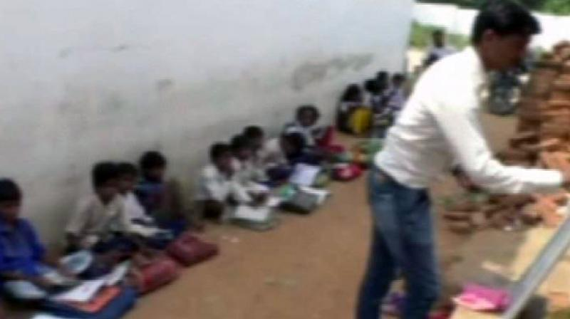 The Bagrajan School, one of those four schools, even conducts classes on the road, the locals informed. (Photo: ANI)