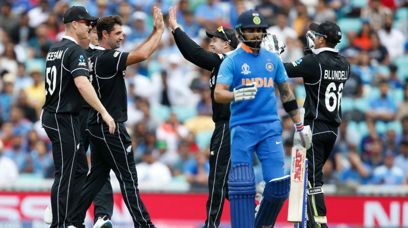 All out for 179 in the 40th over, India were then unable to contain New Zealand's batsmen and a 114-run stand from skipper Kane Williamson (67) and Ross Taylor (71) helped them to victory with nearly 13 overs to spare. (Photo:AFP)