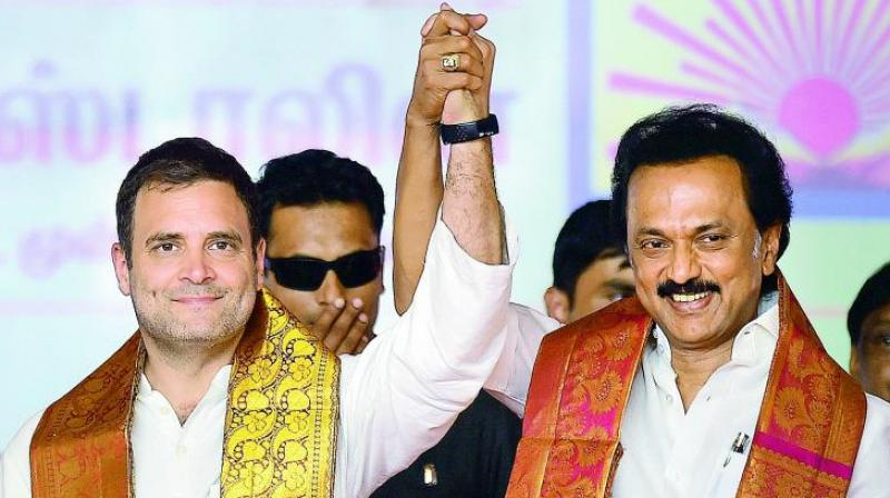 This was agreed to at a meeting between DMK President M K Stalin and state Congress President K S Alagiri shortly after the Election Commission announced the schedule for the bye elections. (Photo: PTI)