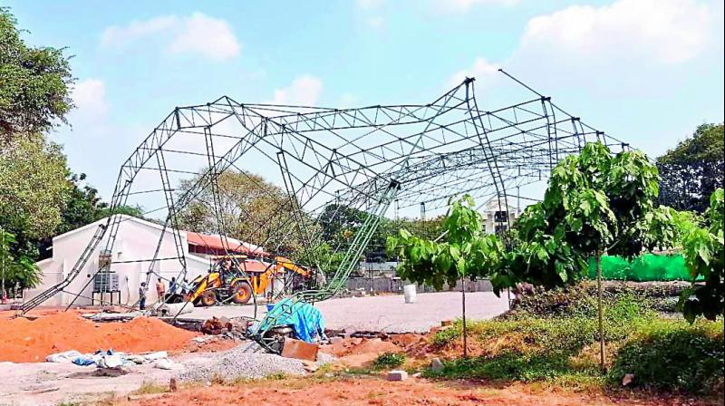 SCB officials on Tuesday demolish a structure which was being constructed at the Secunderabad Club.