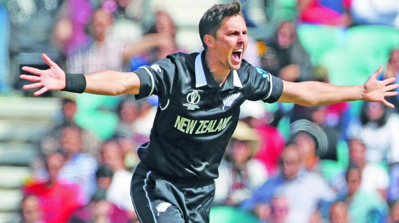 Trent Boult took four wickets to rattle the Indian line-up in the warm-up match at the Oval on Saturday. (Photo: AP)