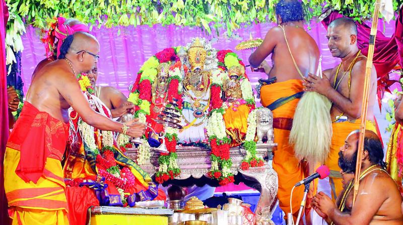 Pattabhishekam  of Lord Rama being conducted in Bhadrachalam on Monday. (Photo: DC)