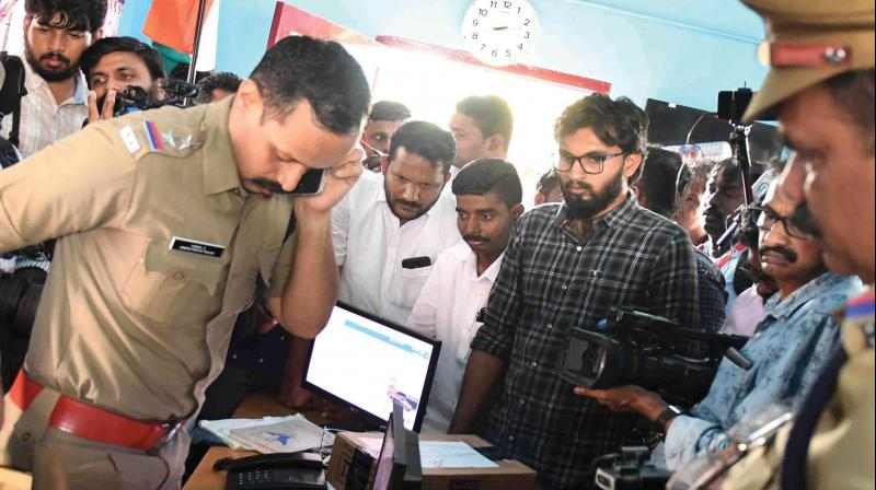 File picture of a raid conducted by the officials of the motor vehicles department raid at Kallada Travels after its employees manhandled protesting passengers in April this year