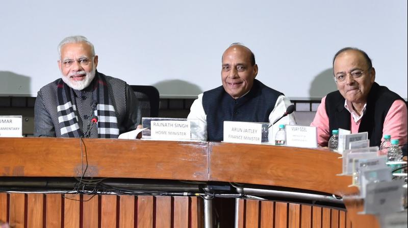 Prime Minister Narendra Modi, Home Minister Rajnath Singh, Finance Minister Arun Jaitley and Parliamentary Affairs Minister Ananth Kumar at an all-party meeting, ahead of the Budget Session, at Parliament House in New Delhi on Sunday. (Photo: PTI/File)