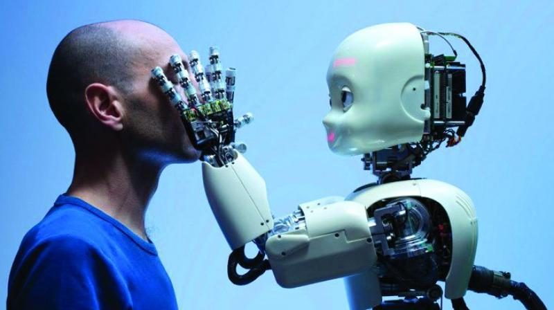 Touch-sensitive electronic skin could also be used in robots to enhance performance and help the machines detect potential dangers when interacting with humans. (representational image)