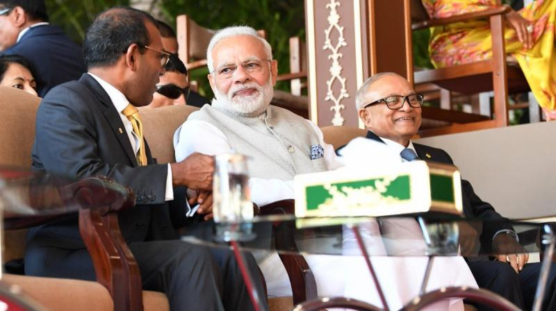During the swearing-in ceremony of Solih, Modi was sitting beside former Maldivian presidents Mohamed Nasheed and Maumoon Abdul Gayoom. (Photo: Twitter | @MEA)
