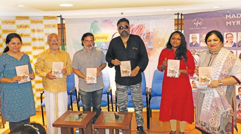 (From L-R) Sunita Dutta Shoam (publisher and India poetry circle editorial team member), S. Sundar Rajan, Keshav, P. C. Sreeram, Thirupurasundari Sevvel and Vidya Shankar (poet and IPC editorial team member).