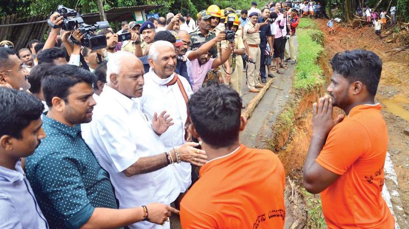 CM BS Yediyurappa visited flood hit areas in Mangaluru district on Monday (Photo: KPN)