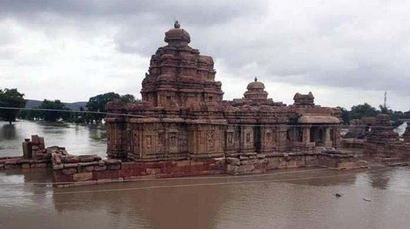 Half of more than hundred temples in adjacent Aihole village are also submerged in the flood water. A local tourist guide, Mahachari claimed that the water level has come down on Sunday.