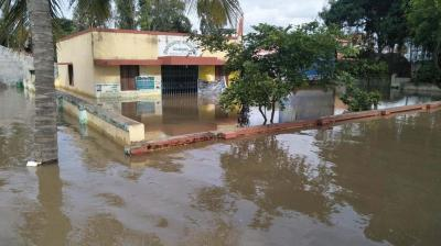 A view of the flooded Mullur village in Chamarajanagar district on Monday (Photo: KPN)