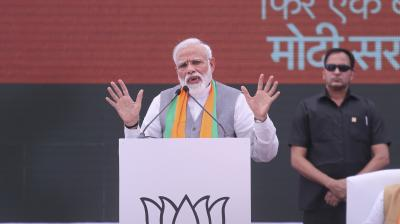 Indian Prime Minister Narendra Modi speaks during the release BJP's manifesto for the upcoming general elections in New Delhi, India, Monday, April 8, 2019. (Photo; AP)
