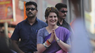 Congress party General Secretary Priyanka Gandhi Vadra, greets party supporters during a roadshow in Ghaziabad, India, Friday, April 5, 2019. (Photo: AP)